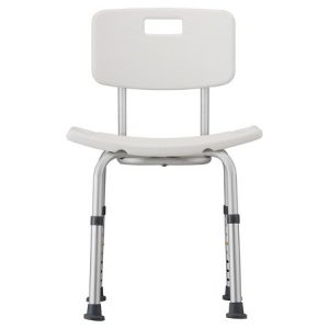 Nova bath seat with detachable back. White plastic seat and back with silver aluminum frame.