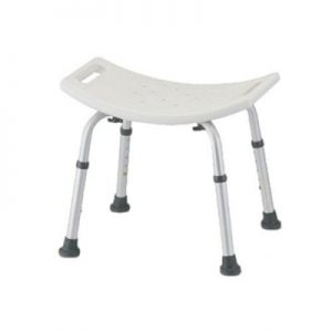 Nova bath seat. White plastic seat with aluminum frame and legs.