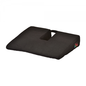 Nova car cushion memory foam gel with coccyx cutout. A square black cushion with a u shaped coccyx cutout.