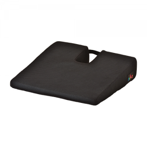 Nova car seat wedge gel foam. A square black cushion with a u shaped coccyx cutout.