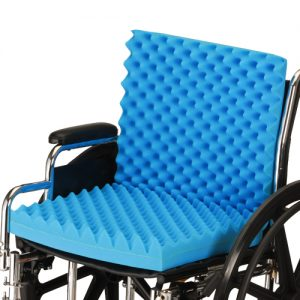 Nova foam convoluted wheelchair cushion. Egg crate style blue foam with no cover.