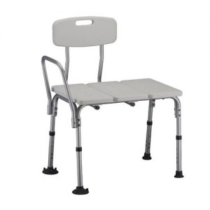 Nova Deluxe Transfer bench. white plastic seat and back on an aluminum frame.