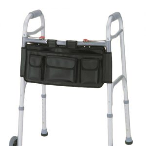 Nova Deluxe folding walker bag walker bag with pockets. A black bag with velcro straps and many pockets. Shown on a traditional silver walker.