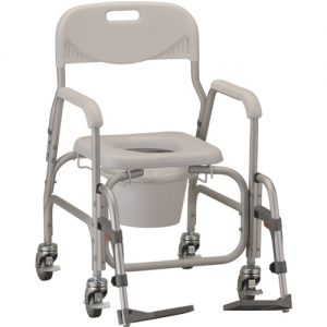 Nova deluxe shower chair commode. Grey plastic seat, back and bucket on top of a grey aluminum frame. Locking caster wheels and adjustable foot rests.