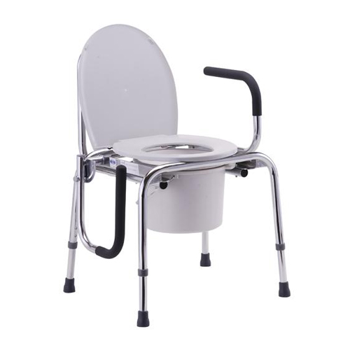 Nova drop arm commode. White plastic seat back and bucket. Aluminum frame with padded black drop arms.