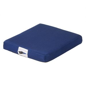Nova Easy air seat cushion. A square blue cushion with an air valve to change the firmness.