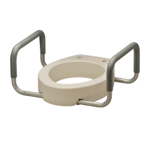 Nova elongated toilet seat riser. White plastic seat with aluminum arms covered in grey padding.