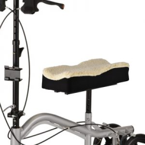nova knee walker fleece cover. black with a fleece top. Shown on the seat of a Nova TKW-12 knee walker.