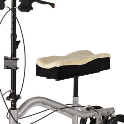 nova knee walker fleece cover. black with a fleece top. Shown on the seat of a Nova TKW-12 knee walker.