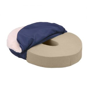 Nova foam comfort ring. A donut cushion with a washable blue cover.
