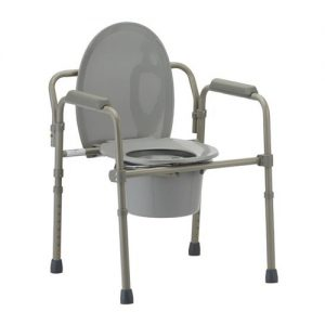 Nova folding commode. grey plastic and grey aluminum. A plastic toilet seat are centered over a bucket. Joints allow for folding the commode in half.