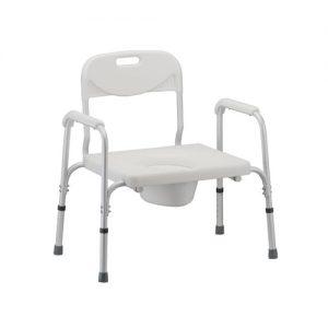 Nova Heavy duty commode. White plastic seat and back. Heavy duty white aluminum frame.