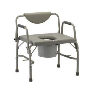 Nova Heavy duty drop arm commode. grey aluminum frame. Reinforced, heavy duty aluminum. Grey back and seat. Drop arms are grey aluminum with grey padding.