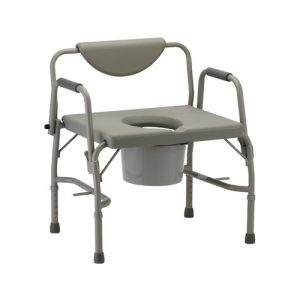 Nova Heavy duty drop arm commode. grey aluminum frame. Reinforced, heavy duty aluminum. Grey back and seat. Drop arms are grey aluminum with grey padding.