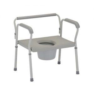 Nova heavy duty commode. Grey plastic seat and back on a grey aluminum frame. Reinforced, heavy duty aluminum.