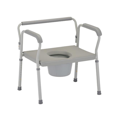 Nova heavy duty commode. Grey plastic seat and back on a grey aluminum frame. Reinforced, heavy duty aluminum.