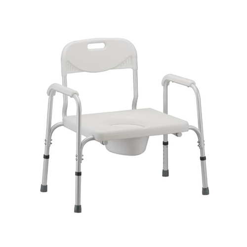 Nova Heavy duty commode. White plastic seat and back. Heavy duty white aluminum frame.