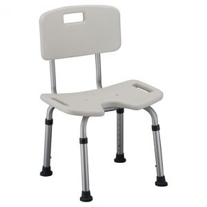Nova Hygienic Bath Bench witch cleaning cutout. White plastic seat and back, aluminum frame.