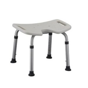 Nova bath bench, white plastic seat with hygienic cutout. Silver aluminum frame.