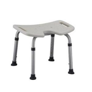 Nova bath bench, white plastic seat with hygienic cutout. Silver aluminum frame.