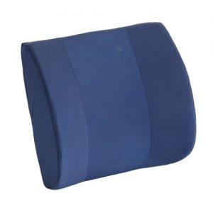 Nova memory foam lumbar cushion. A lumbar support cushion with removable blue cover.