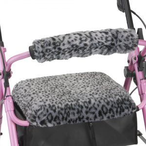 Nova seat and back cover rollator accessories. The picture is a snow leopard pattern displayed on a Nova rollator.