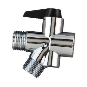 Nova Shower Diverter Valve. A silver diverter valve with a black switch to change water flow.
