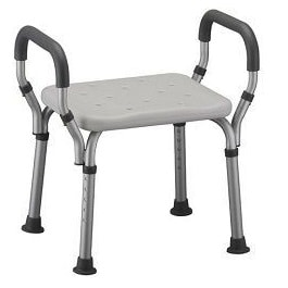 Nova bath bench with arms. White plastic seat, silver aluminum frame and arms with grey padding.