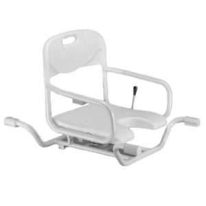Nova swivel bath seat, white plastic seat and back, silver aluminum frame. Lever allows the seat to turn at 90 degree angles.