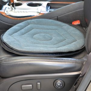 Nova swivel seat car cushion. A grey cushion with a black frictionless bottom that allows for easy turning to get in and out of cars.
