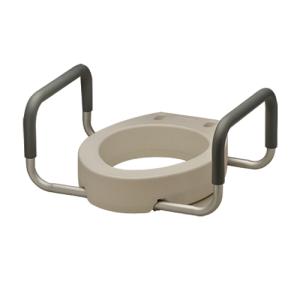 Nova toilet seat riser. White plastic seat, aluminum arms with grey padding.