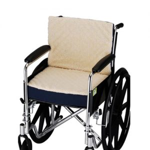 Nova Fleece Wheelchair cushion. A blue two panel cushion with a fleece top side for comfort.