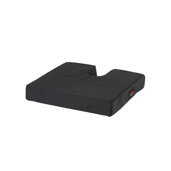 Nova wheelchair cushion foam with coccyx cutout. A square black cushion with a u shaped coccyx cutout.