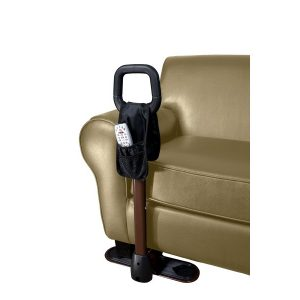 Stander Couch Cane. A black loop on top of a bronze support. The stand assist device is underneath a couch, showing where it can be used.