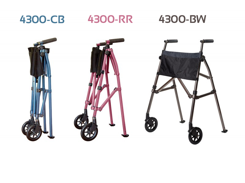 Stander Fold-N-Go Walker. 3 pictures of the Standard Fold-N-Go walker in 3 positions and 3 colors. Left to right: A blue version in the folded position, a rose model in a half-folded position, last a walnut colored model in the open position.