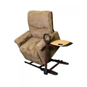 Stander Stand Assist Tray. A bronze and black stand assist, with a black plastic hand loop and a wooden table on top. Shown installed under a power lift recliner in the lift position.
