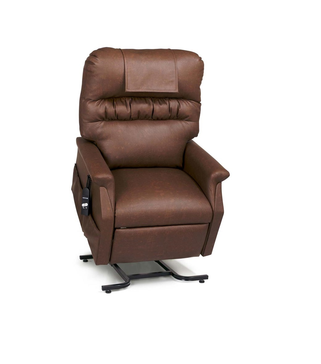 Power Lift Recliner Rental default image. A Golden Technologies Monarch lift chair in the upright position. Chestnut colored, vinyl fabric.