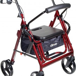 "Drive Duet Walker Rollator & Transport chair combination. Red frame with black accessories. 8"" wheels."