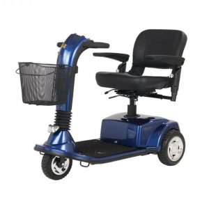 Golden Companion 3 Wheel mobility scooter. Blue frame with a black seat and front basket.