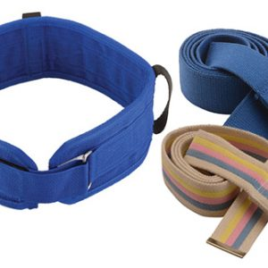 Nova Heavy Duty Gait Belt. 3 versions of gait belts shown on a white back ground. The left side shows a Nova EZ-use gait belt with velcro strips and hand holds while the right side shows 2 regular gait belts; the top in navy and the bottom in a rainbow pattern.