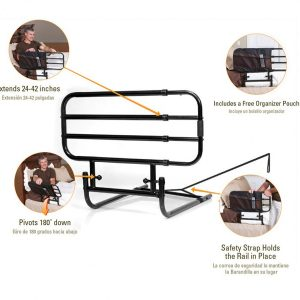 Stander EZ Adjust Bed Rail. 4 bar bed rail, insert pictures show how it can extend to a full rail.