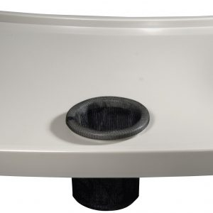 Drive walker tray with cup holder. White tray with black cup holder.
