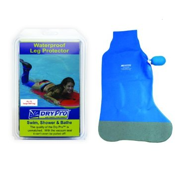 dry pro half leg cast cover. Blue cover next to the retail packaging.