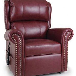 "Golden Pub Chair Power lift recliner. In red ""geranium"" fabric. seated position."