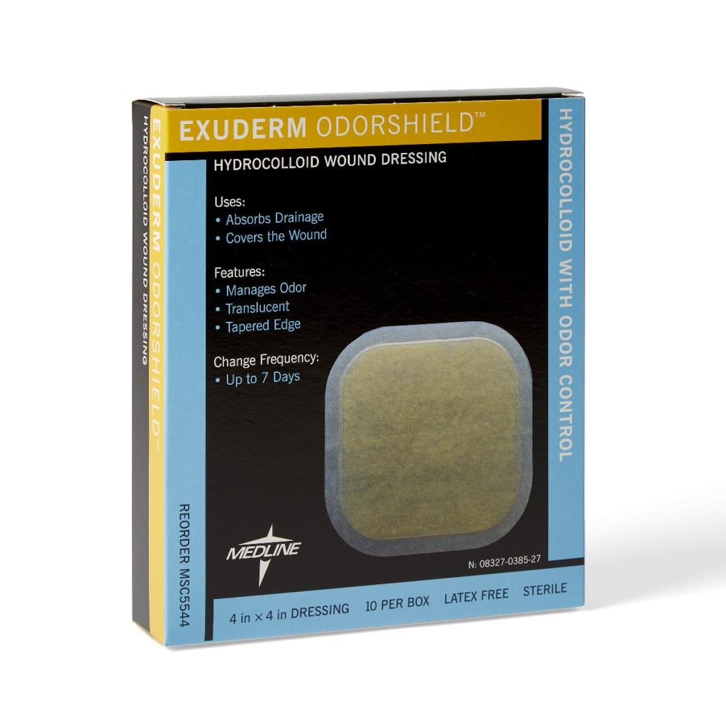 Exuderm Dressing Odorshield Hydrocolloid Bandage Advanced Wound Care. Post-op dressing, sold by the bandage or the box.
