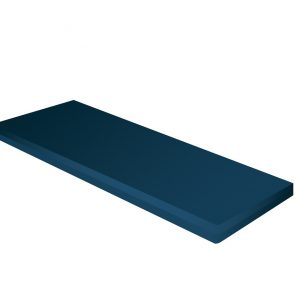 "Roscoe/Probasics standard foam mattress product image. A rectangular mattress covered by a washable navy cover. On a white background. Mattress dimensions 80""x36""x6""."