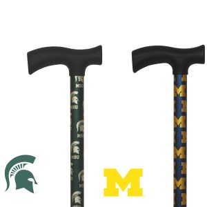 College Canes default image. Discontinued product. The picture shows a Michigan Wolverines and a Michigan State Spartans cane next to each other.
