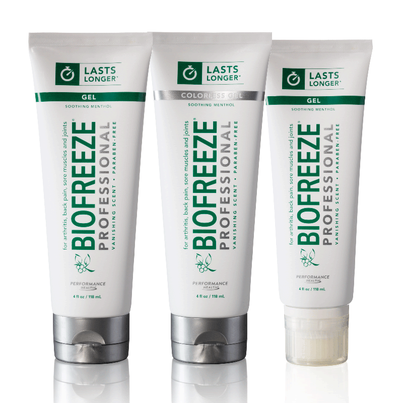 Biofreeze Pain Relief gel. 3 tubes of the 3oz. size shown side by side. Arthritis relief.