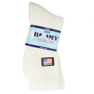 Roomy Socks Diabetic Sock package. A pair of white, diabetic friendly socks.