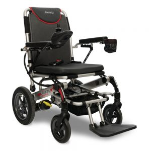 Pride Jazzy Passport power wheelchair in pewter color